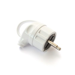 Plug ERKA 1004, 16A with grounding, handled, white