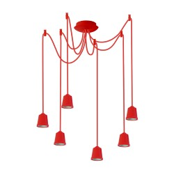 Light ERKA 616, ceiling mounted, 6x60W, 1m, red, Е27